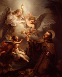 Apparition de l'Eucharistie à Saint Pascal Baylon, peinture de Bernardo Lopez (1811). Musée des Beaux-Arts de Valence